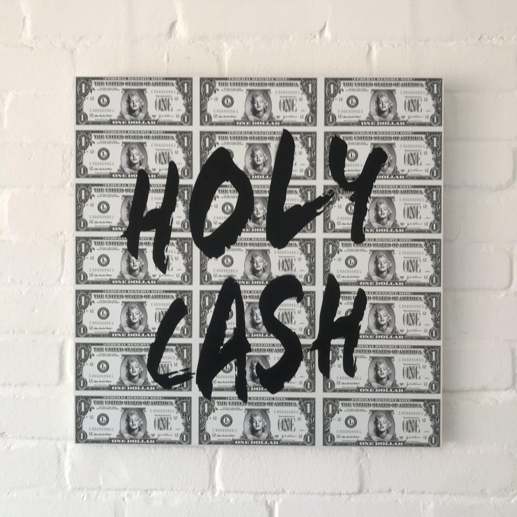 "Titel: ""Holy Cash"" 60*60cm Sascha Dahl"